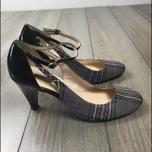 Sam & Libby Slelliance Black Gray Plaid Heels